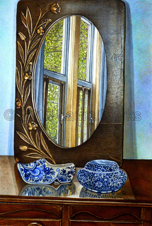 Still Life with Delft and Mirror